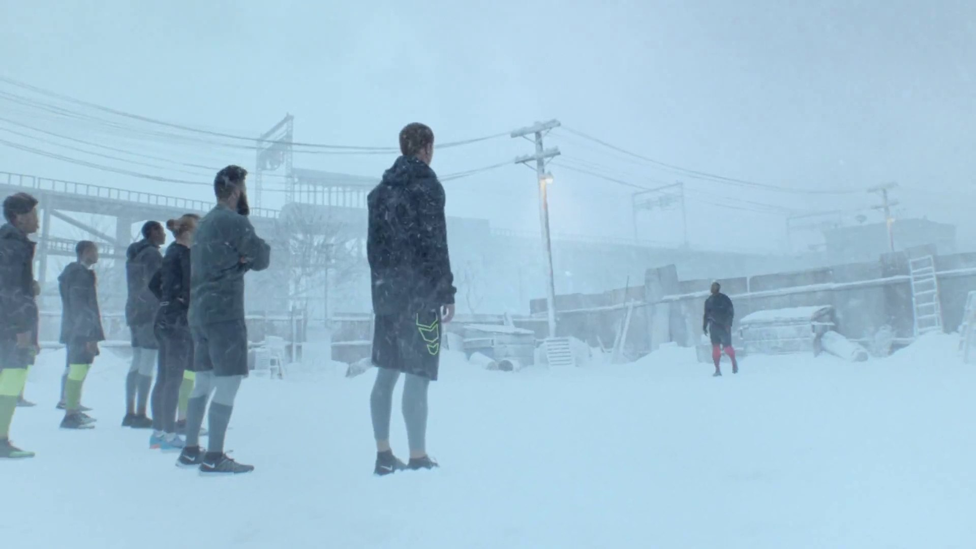NFL Football Players break Glasses to play under Snow Fall in new Nike Commercial