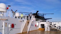 AgustaWestland EH101 Sea Rescue helicopter taking off from SuperSpeed ferry