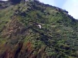 Madeira - Canhas strong west wind. Paraglider in Leeward side caught in rotors