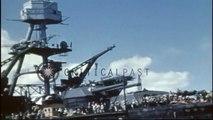 USS Nevada refloated at Pearl Harbor, Hawaii. HD Stock Footage