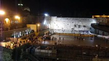 The Western Wall (Wailing Wall), Temple Mount and Dome of the Rock on a rainy night 11 Nov 2012