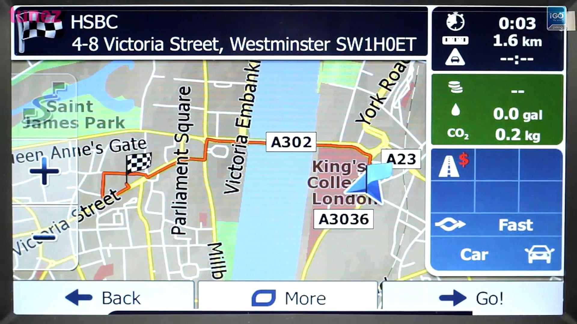 UK & Ireland iGO Primo GPS software with NAVTEQ map operating on Tunez  aftermarket Mazda 3 head unit