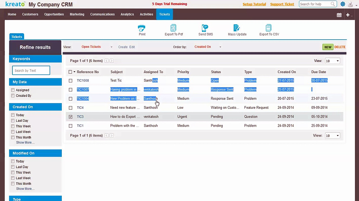 Kreato CRM – Help Desk App Demo