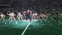 Football player joins dance choregraphy with girls before game and kills it!! Arizona Rattlers