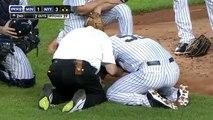 Baseball - Il prend une balle en pleine tête
