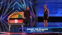 Xakary the Magician: Heidi Klum Gets Sawed in Half  America's Got Talent 2015