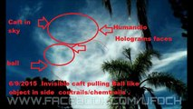 Invisible ufo Craft pulling ball like object in  the sky  in contrails/chemtrails