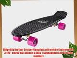 Ridge Skateboard Big Brother Nickel Mini Cruiser Board Komplett Fertig Montiert Black/Pink