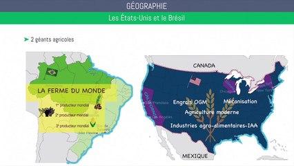 Bac géographie - Les États-Unis et le Brésil