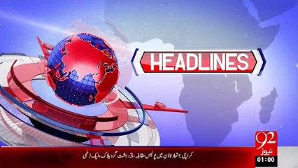 Headlines - 01:00AM - 20-08-15 - 92 News HD