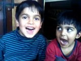 Funny Pakistani Childrens Sings Pakistan National Anthem, Very funny and cute style