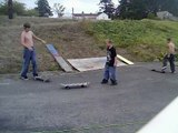 fat kid falls and almost breaks his wrist and people skating