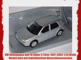 VW Volkswagen Golf IV Silber 5 T?rer 1997-2003 1/24 Welly Modell Auto mit individiuellem Wunschkennzeichen