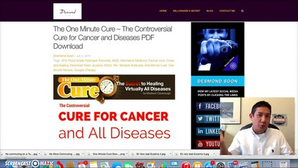 Cancer and disease Cure The One Minute Cure H2O2 Therapy Day 4