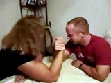 Big Blonde Girl with huge thick biceps Armwrestling a man FBB Armwrestling abs