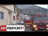 A1 Report - Lezhë, zjarri shkrumbon kopshtin e femijeve, flaket kercenojne banesat