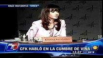 Cristina Fernandez de Kirchner, en la cumbre de Viña del Mar