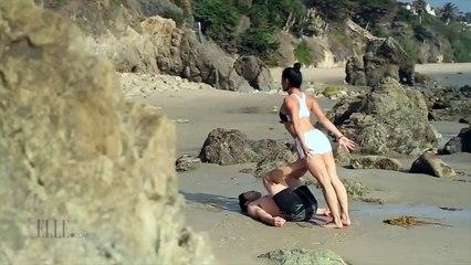 بوسه گرفتن از دختر سکسی لب ساحل با حرکات آکروباتیک