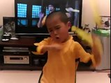 A Little Bruce Lee Sounds ,Moves and Work Those Nijha Chucks Just Like The Original Bruce Lee .Wow,Great Job Watch Out He s Dangerous