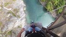GoPro headcam bungy jump from Kawarau Bridge, Queenstown New Zealand