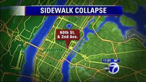 Sidewalk COLLAPSES beneath overweight woman as she runs she drops down seven feet N.Y.