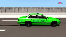 Police Car | Learn Police Car Colors | Police Car Videos For Kids