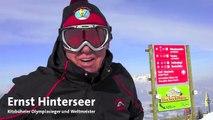 Die Streif Skiabfahrt am Hahnenkamm mit Olympiasieger Ernst Hinterseer