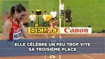 Elle célèbre un peu trop vite sa troisième place aux championnats du monde d'athlétisme