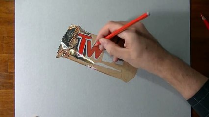 Drawing Time Lapse: Twix Bar - Hyperrealistic Art