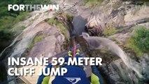 Insane 59 meter cliff jump