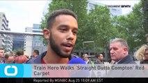 Train Hero Walks 'Straight Outta Compton' Red Carpet