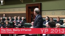 Hon. Barry O'Farrell, Premier of NSW, Opening YMCA NSW Youth Parliament 2013