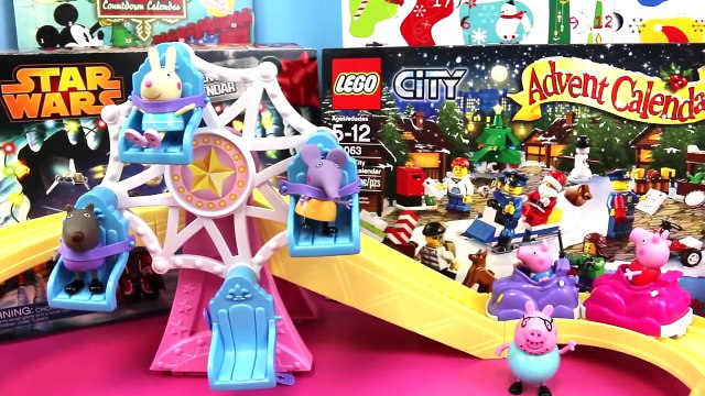 Peppa Pig Play #12 -  Surprise Toys Peppa Pig Roller Coaster George Pig Race Daddy Pig and Shopkins