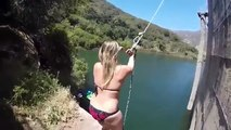 Girl Fails At Using Rope Swing