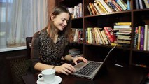 Beautiful woman chatting in skype, business communication. Stock Footage