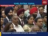 Sania Mirza receives Rajiv Gandhi Khel Ratna