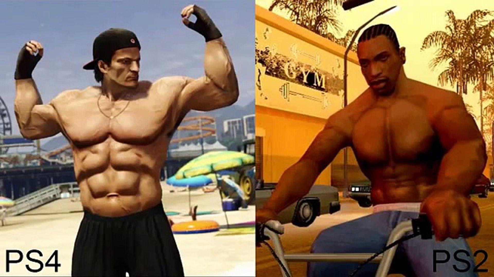 PS4 vs PS2 Graphics Comparison Gta 5 vs Gta San Andreas FULL HD 1080p