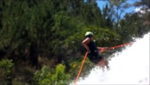 Linn's free fall/jump from 7 meters from a 25 meter waterfall. Canyoning in Da Lat - Vietnam
