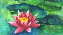 How to paint a Water Lily pond with watercolor, easy step by step tutorial