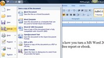 Free PDF Converter - How to convert a document into a PDF using Word 2007
