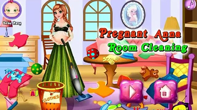 Play Pregnant Anna Room Cleaning Video Game-New Fun Games for Babies