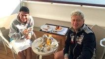Queen Elizabeth Kreuzfahrt Frühstück auf dem Balkon Schnupperkreuzfahrt Kiel - Zeebrügge - Brügge - Southamton