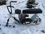 homemade mini snow bike prototype snowmobile minibike snowbike