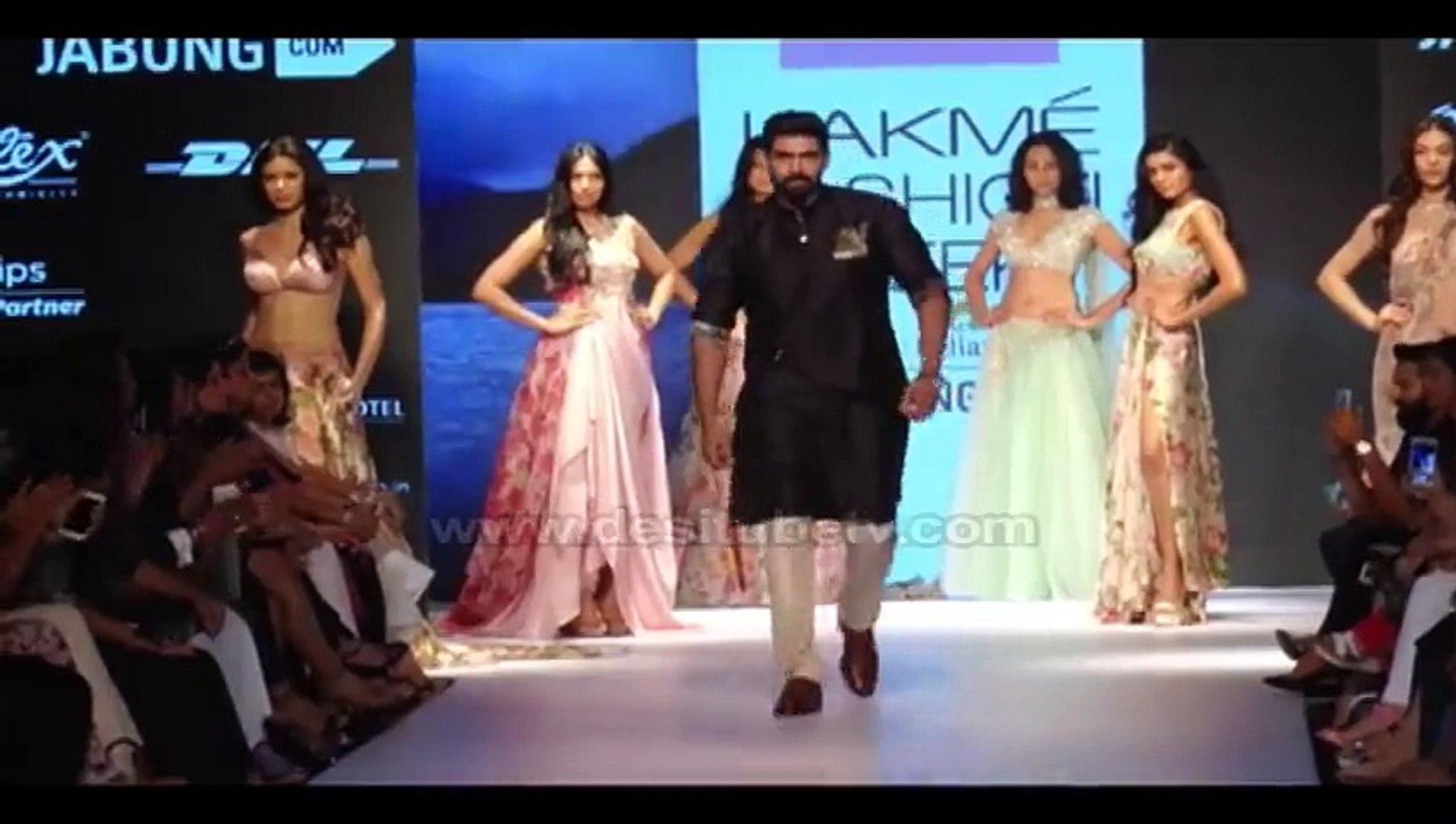 Amy Jackson and Rana Daggubati turned showstoppers for Anushree Reddy at  Lakme Fashion Week 2015