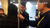 Kung fu in real fight !A Chinese man fights on subway in Tai chi/tai ji style.