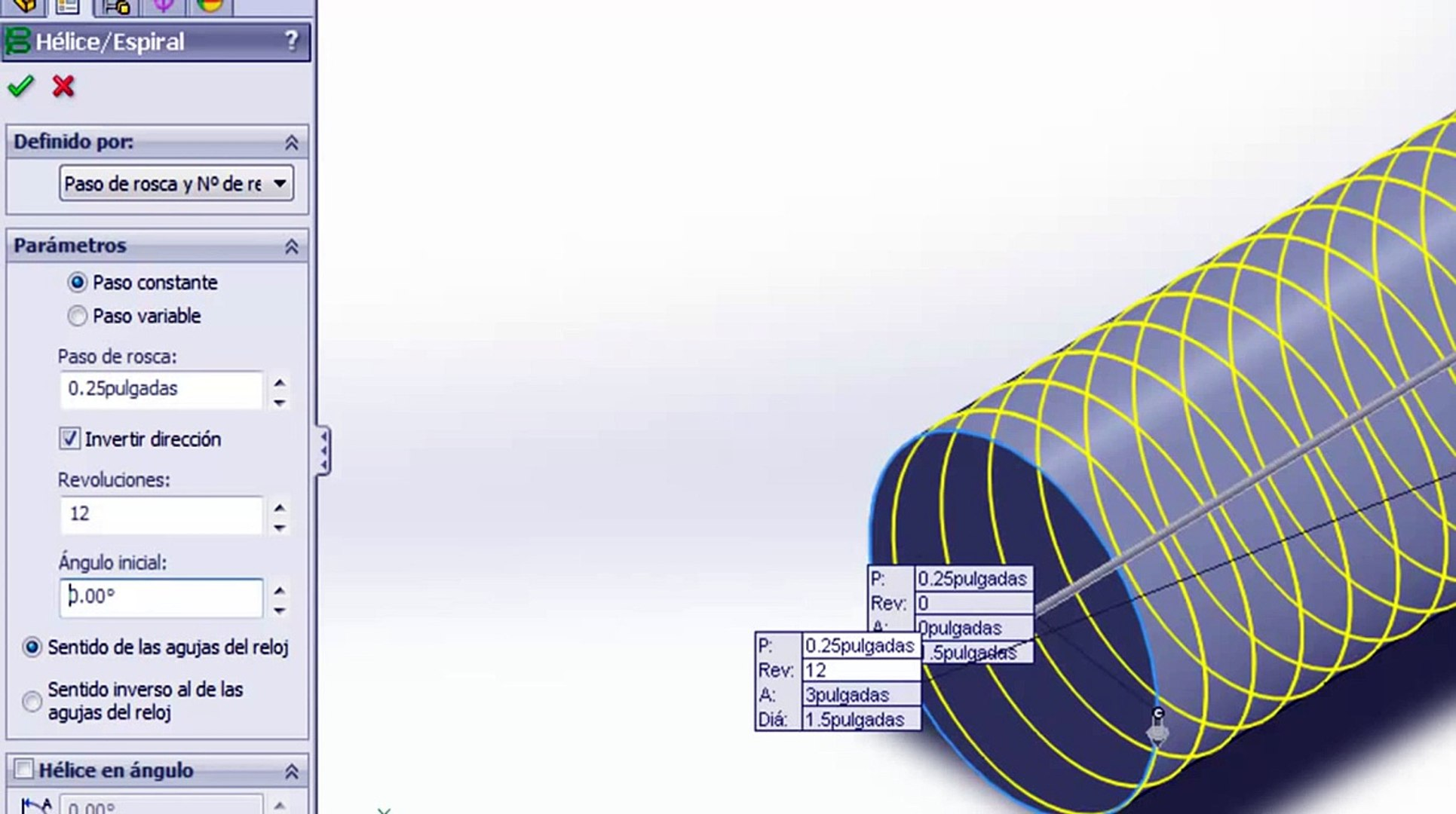 Dibujo De Un Tornillo De Rosca Acme 3d En Solidworks