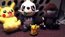 Pokemon Plush (Pikachu, Pancham, and Tyrunt) and Pika~Pika~ the amiibo
