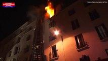 Incendie rue Myrha: les images de l'intervention des sapeurs pompiers de Paris