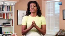 """First """"Lady"""" Michelle Obama Showing Her Bowl Of Apples"""