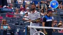 benoit paire lose control of his tennis raquette against kei nishikori us open 2015 (HD)